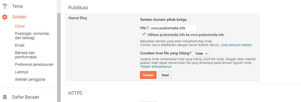 Setting Domain Blogspot Melalui cPanel