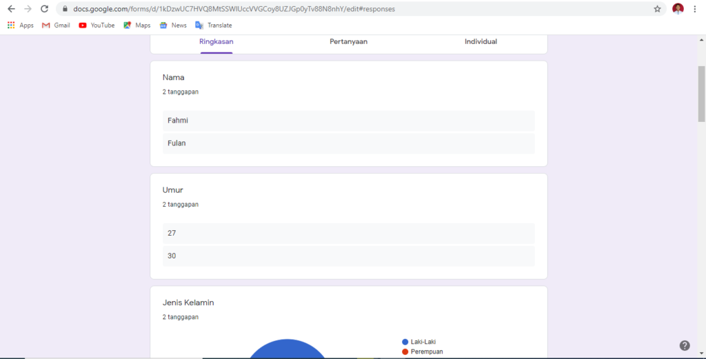 cara melihat laporan google form